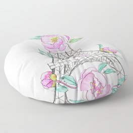 Eiffel tower and peonies Floor Pillow