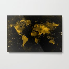 Gold Marble World Map Metal Print