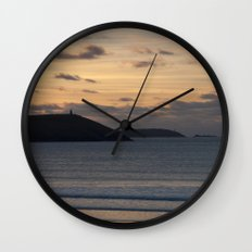 Evening Skies Over Polzeath Wall Clock