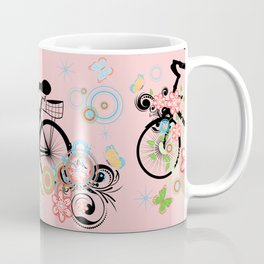 Bicycle and Colorful Floral Ornament Coffee Mug