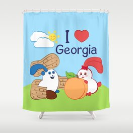 Ernest and Coraline | I love Georgia Shower Curtain