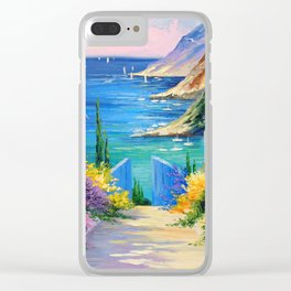 Sunny road to the sea Clear iPhone Case