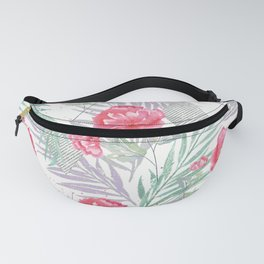 Carnations on a white background. Fanny Pack