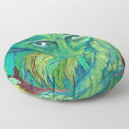 The Greenman by Mary Bottom Floor Pillow