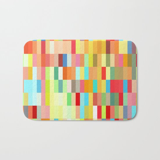 colorful rectangle grid Bath Mat