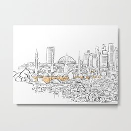 Modern and old Istanbul panorama drawing Metal Print