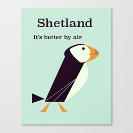 Shetland Puffin Vintage travel poster Canvas Print