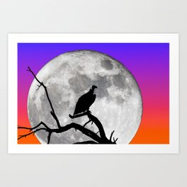 Vulture Silhouetted Against Supermoon Art Print