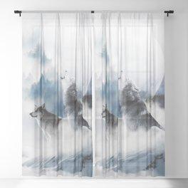 Winter Wolves, Wildlife Wolf Wild Dogs, Snow Full Moon Animals Photography Love Digital Art Sheer Curtain