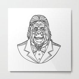 Gorilla Wearing Tuxedo Bust Monoline Metal Print