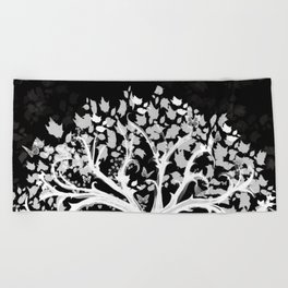 The Zen Tree - White on Black Beach Towel