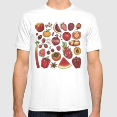 Red Food MEDIUM Mens Fitted Tee White