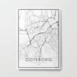 Goteborg City Map Sweden White and Black Metal Print