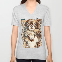 Beautiful brown longhaired Chihuahua dog above banner, isolated on white background        - Image Unisex V-Neck