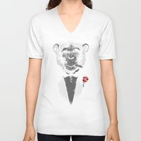 business V-neck T-shirts featuring Monkey Business by Alex Solis