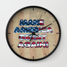 USA Flag MAKE AMERICA GREAT AGAIN typography Wall Clock