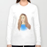 cara delevingne Long Sleeve T-shirts featuring Cara Delevingne by Ira Lapshina