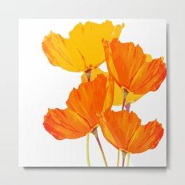 Orange and Yellow Poppies On A White Background #decor #society6 #buyart Metal Print