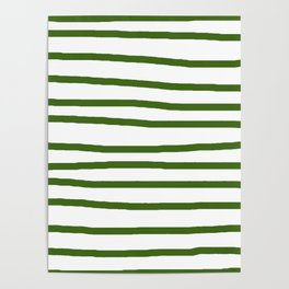 Simply Drawn Stripes in Jungle Green Poster