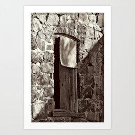 Arch Stone Window in Sepia Art Print