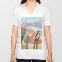paramore V-neck T-shirts featuring Paramore - Welcome to Real World by Zinenkoij