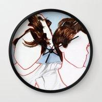 tegan and sara Wall Clocks featuring Tegan and Sara by Kim Leutwyler