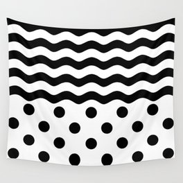 WAVES & POLKA DOTS (BLACK-WHITE) Wall Tapestry