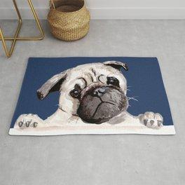 Pug with Blue Rug