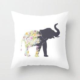 Floral Elephant Animal Print Throw Pillow
