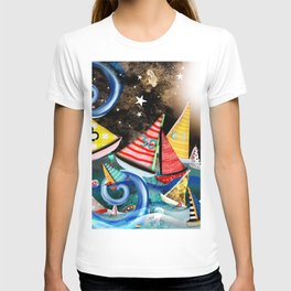 Night Sailing - Aurora Art Moonlight Stars Night T-shirt