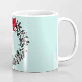 Christmas Wreath with Red Bow #Christmas #holidays Coffee Mug