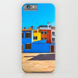 Burano island square and colorful houses, Italy iPhone Case
