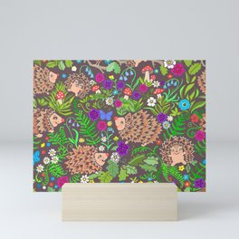 Hegehog fall forest, rainbow flowers and robins Mini Art Print
