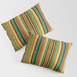 Joseph Stripes Vertical - Mid Century Mod Stripe Pattern in Teal, Olive, Maroon, Navy, Orange, and Mustard Pillow Sham