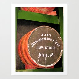 Jameson whiskey - Jameson Irish whiskey wooden barrel face photography Art Print