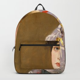 William Merritt Chase - Girl In A Japanese Costume - Digital Remastered Edition Backpack