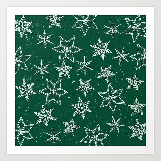Snowflakes On Green Background Art Print