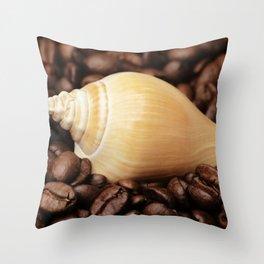 Coffee bean snail Throw Pillow