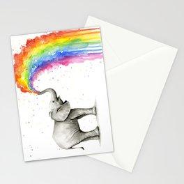 Baby Elephant Spraying Rainbow Whimsical Animals Stationery Cards
