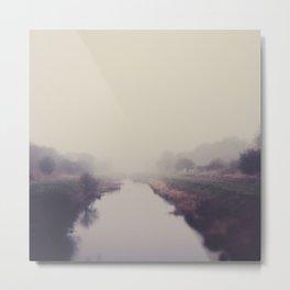 true beauty is a foggy landscape in the English Fens. Metal Print