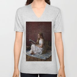 Reading Takes you Places - Book Lover's Fine Art Portrait Unisex V-Neck