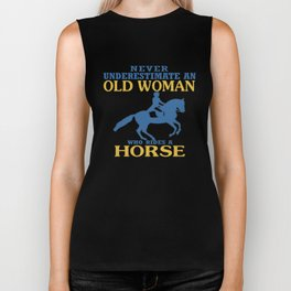 Old Woman Rides Horse Biker Tank