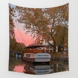 Autumn Twilight Canal Wall Tapestry