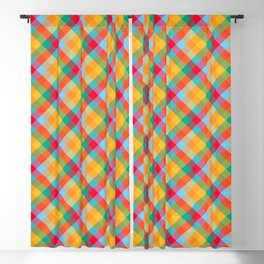 Colorful Summer Plaid Pattern Blackout Curtain