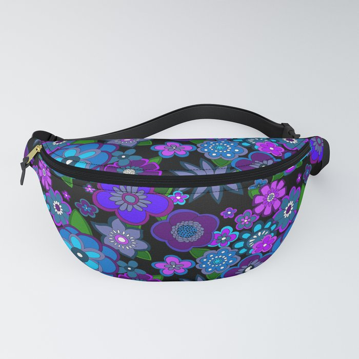 Yesterday_People_Super_groovy_Flowers_dark_base_purple_Fanny_Pack_by_Yesterday_People__One_Size__fits_23_to_52_around_