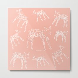 Animals lineart white-nude pattern Metal Print