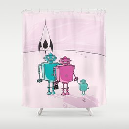 Robot family vacation Shower Curtain