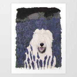lavender dog Art Print