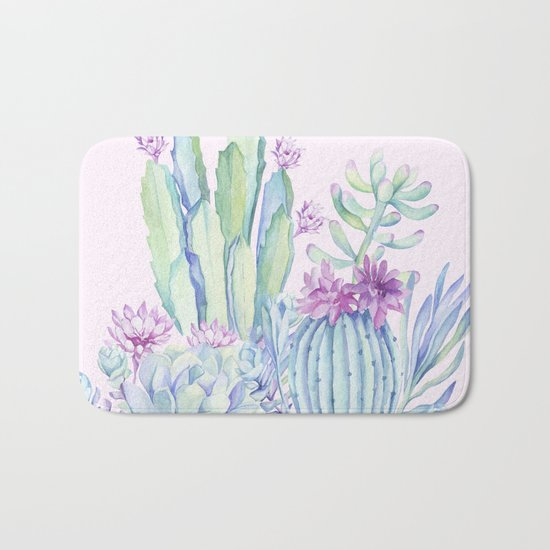 Mixed Cacti Pink #society6 #buyart Bath Mat