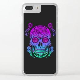 Sugar Skull Neon Flower Clear iPhone Case